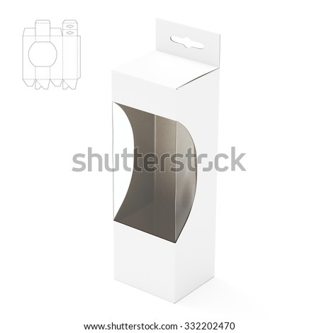 Empty Shelf Box with Hanger Tab and Die Line Template