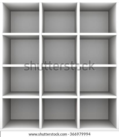Empty shelves. 3d render image - stock photo