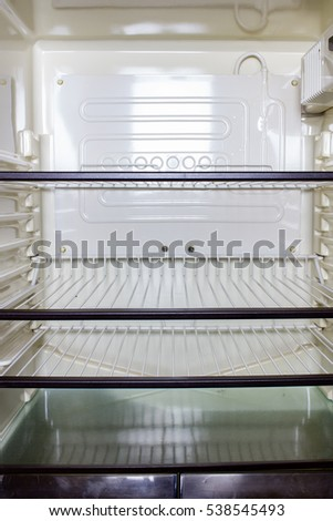 Empty shelves in a refrigerator