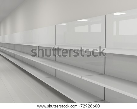 Empty shelves in the store - stock photo