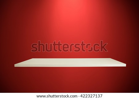 Empty shelves on red wall for your product design