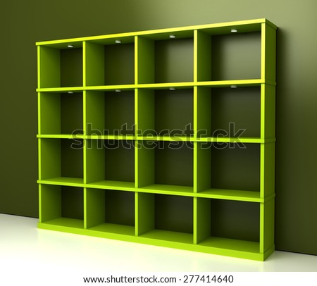 Empty shelves. Original three dimensional models.