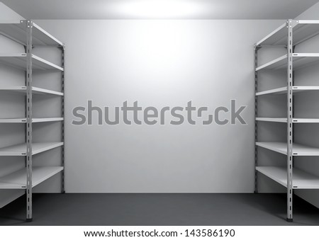 empty shelving in the room - stock photo