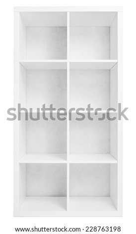 Empty shelving or library bookcase isolated - stock photo