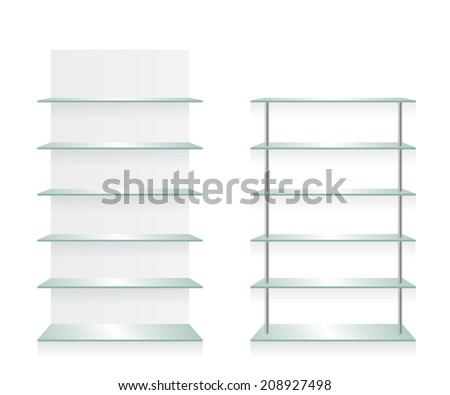 Empty shop glass shelves - stock photo