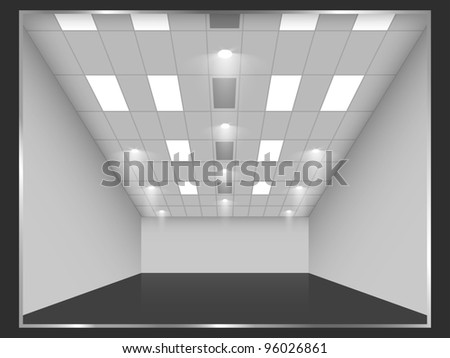 Empty shop interior, front view. - stock photo