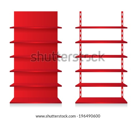 Empty shop shelves red - stock photo