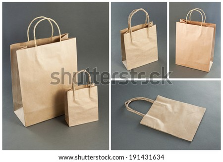 Empty Shopping Bag from craft paper, Recycled paper shopping bag on gray and white background - stock photo