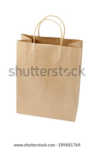 Empty Shopping Bag from craft paper, Recycled paper shopping bag on white background