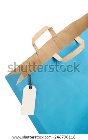 Empty Shopping bag isolated on white background. With clipping path - stock photo