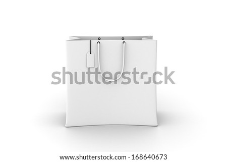 Empty Shopping Bag on white for advertising and branding.