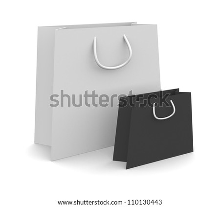 Empty shopping bags isolated on white
