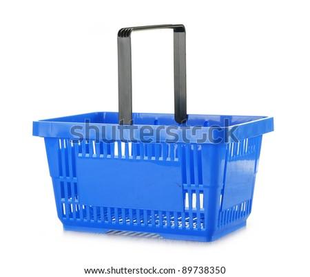 Empty shopping basket isolated on white - stock photo