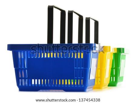 Empty shopping baskets isolated on white background - stock photo