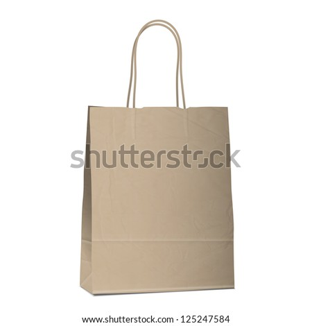 Empty shopping brown bag on white. Raster version