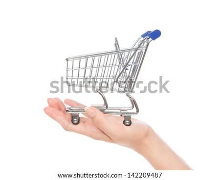 Empty shopping cart for sale on open hand isolated on a white background