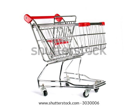 Empty Shopping Cart Isolated on white - stock photo