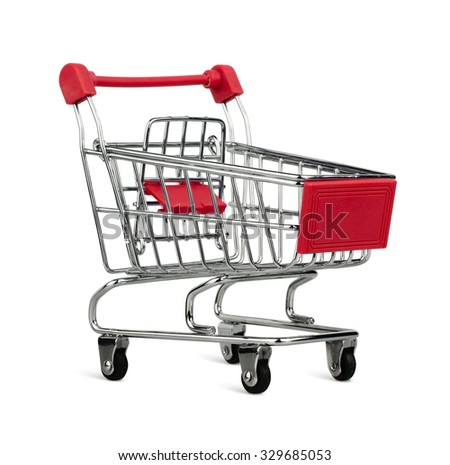 Empty shopping cart isolated on white background