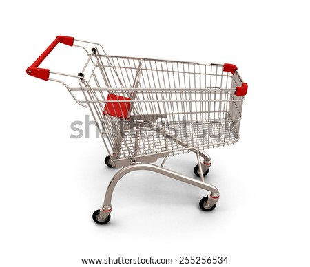 Empty shopping cart isolated on white background. 3d render image.