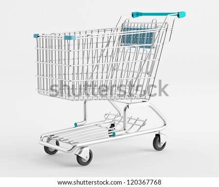 Empty Shopping Cart on a white background - stock photo