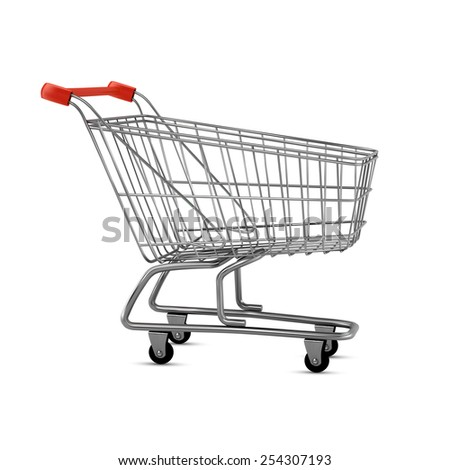 Empty shopping cart, side view, isolated on white background