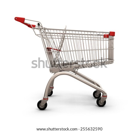 Empty shopping cart, side view, isolated on white background. 3d illustration. - stock photo