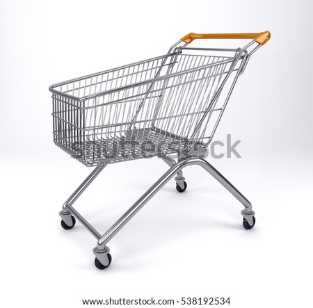 Empty shopping cart, side view, isolated on white background. 3D rendering