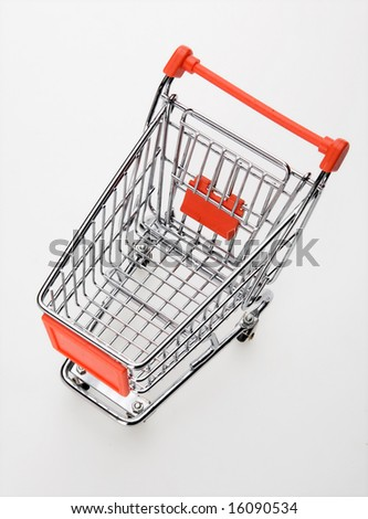 empty shopping cart top view - stock photo