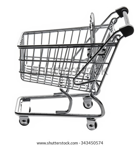 Empty Shopping Cart Trolley Isolated - stock photo