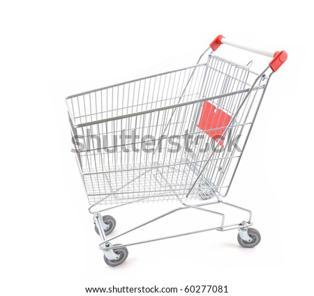 Empty shopping cart viewed from side - a series of SHOPPING TROLLEY images. - stock photo