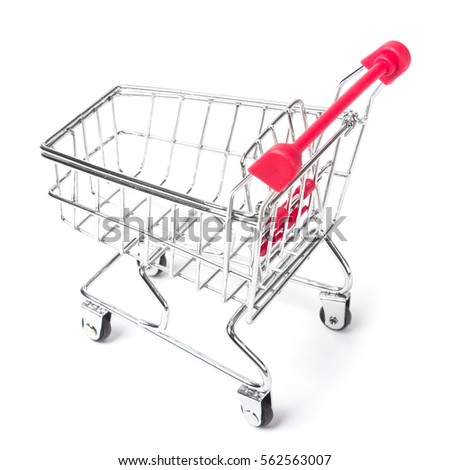 Empty shopping cart with the red handle on a white isolated background