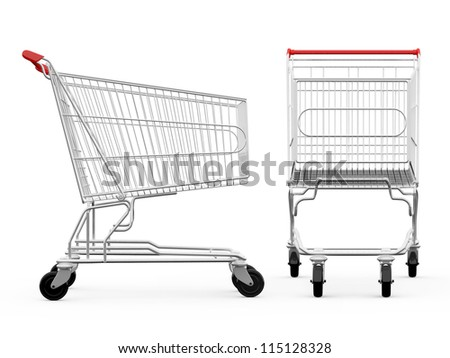 Empty shopping carts, side view and front view, isolated on white background. - stock photo