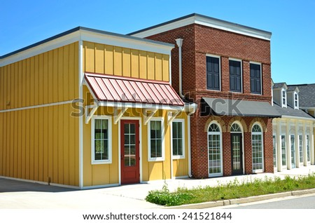 Empty Shopping Center with Commercial, Retail and Office Space available for sale or lease - stock photo