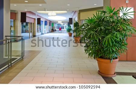 Empty shopping Mall interior. - stock photo