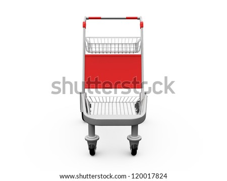 Empty shopping trolley, front view, isolated on white background. - stock photo