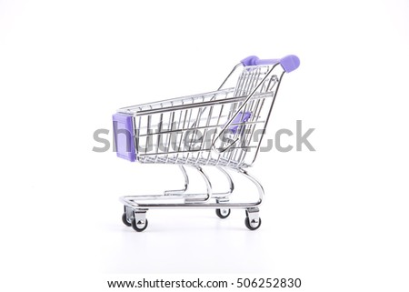 Empty shopping trolley isolated on white background.