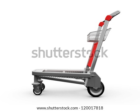 Empty shopping trolley, side view, isolated on white background. - stock photo