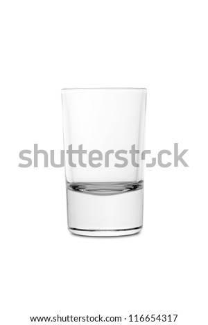 "Empty ""shot"" glass for alcoholic drink isolated on white background"