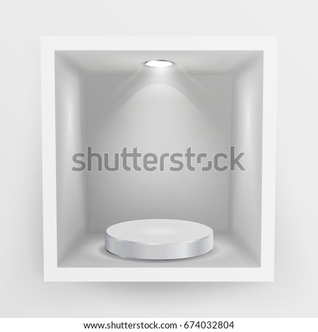 Empty Show Window, Niche. Abstract Clean Shelf, Niche, Wall Showcase. Good For Exhibit, Presentations, Display Your Product.