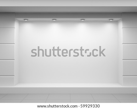 Empty show-window of shop - stock photo