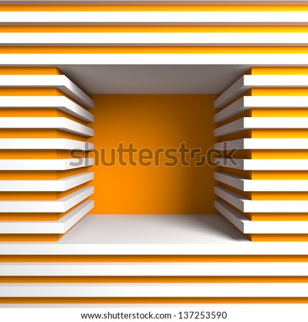 Empty showcase. A 3d illustration blank template layout of empty shelf. - stock photo