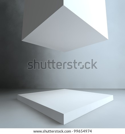 Empty showcase, 3d exhibition space - stock photo