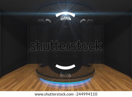Empty showcase in Black Empty room - stock photo