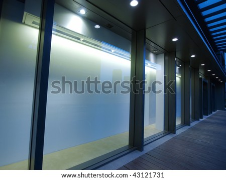 Empty showcase of department store - stock photo