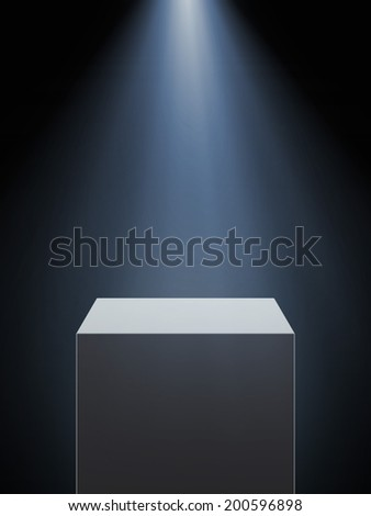 Empty showcase with spotlight isolated on a black background.  - stock photo