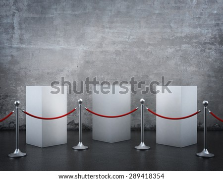 Empty showcase with tiled stand barriers for exhibit. On old wall - stock photo