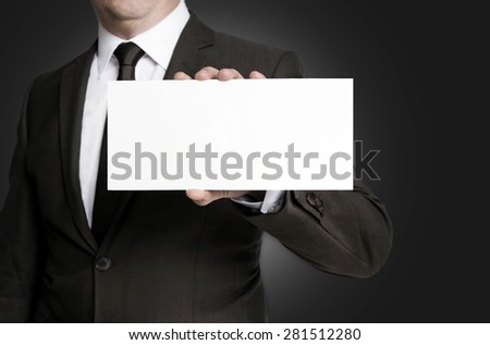 Empty sign is held by businessman.
