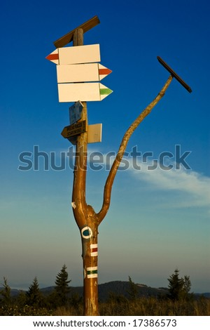 Empty sign on a trail - stock photo