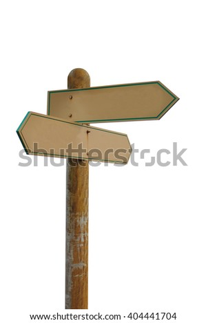Empty Signage Pointing Different Directions With blank white background - stock photo