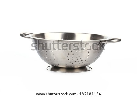 Empty silver colander. Isolated on a white background.